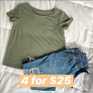 Basic Army Green Short Sleeve Shirt w Pocket